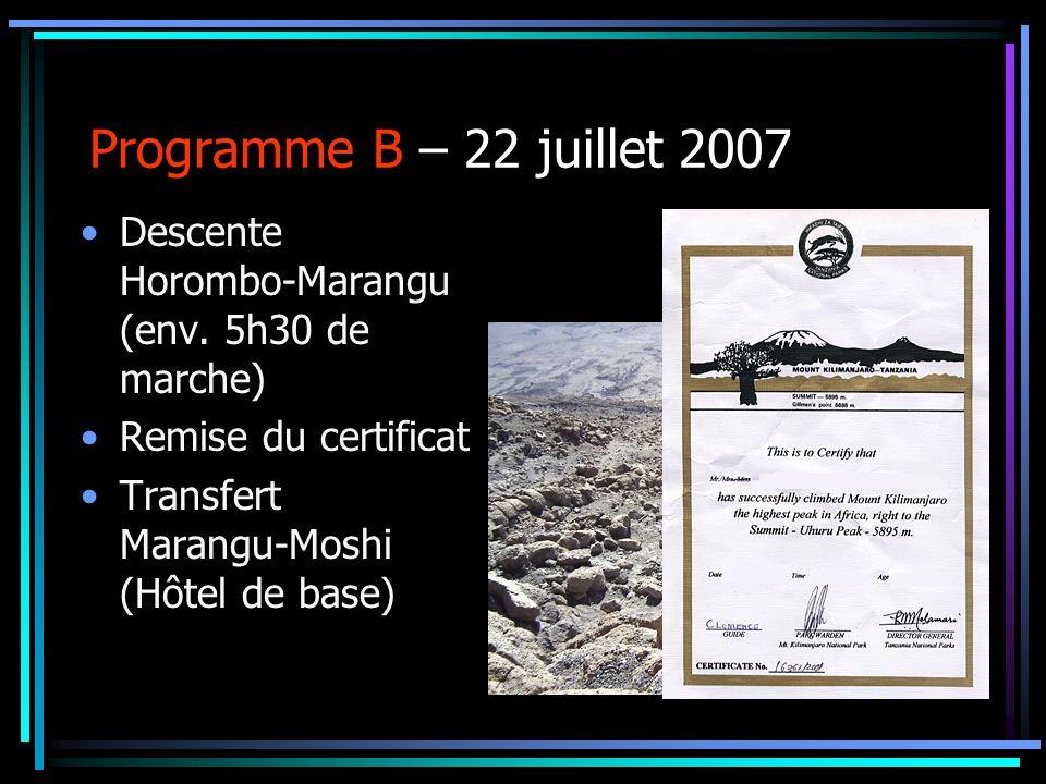 Programme B – 22 juillet 2007 Descente Horombo-Marangu (env. 5h30 de marche) Remise du certificat.