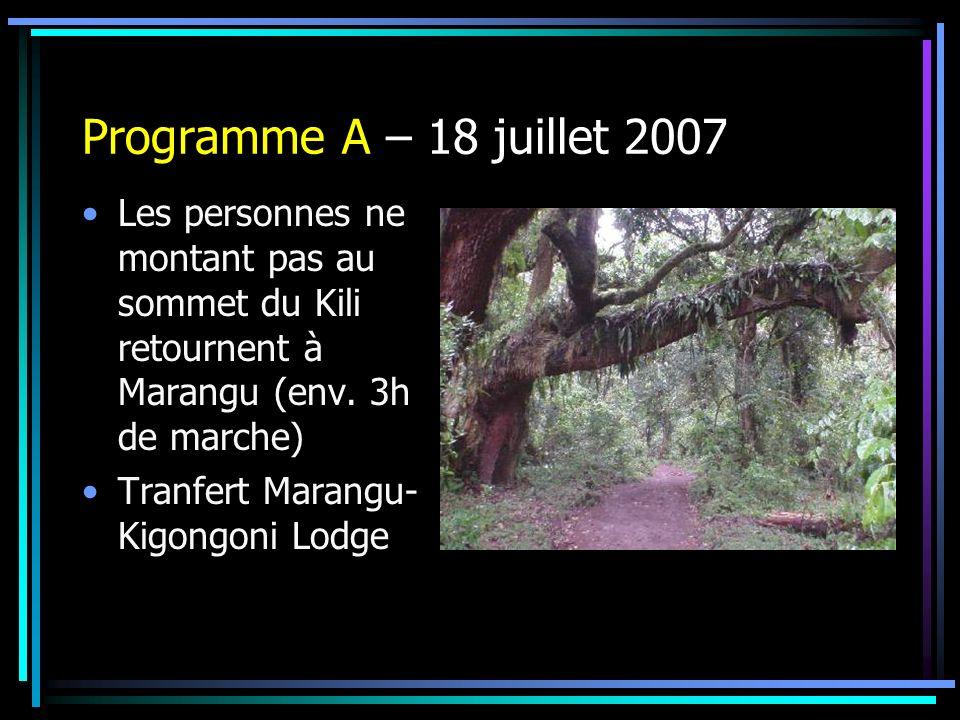 Programme A – 18 juillet 2007 Les personnes ne montant pas au sommet du Kili retournent à Marangu (env. 3h de marche)