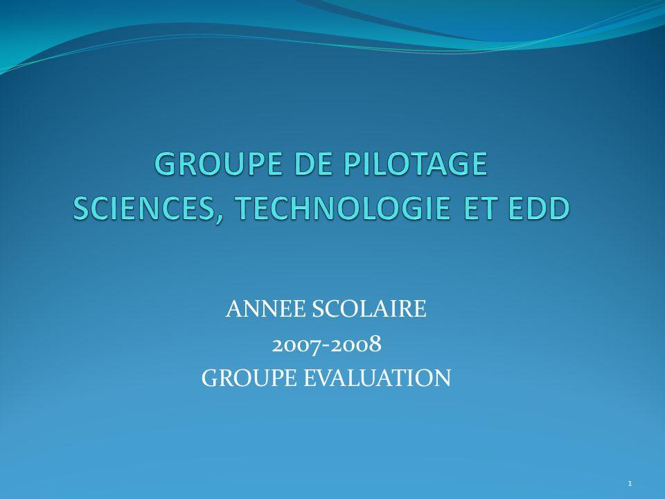 GROUPE DE PILOTAGE SCIENCES, TECHNOLOGIE ET EDD