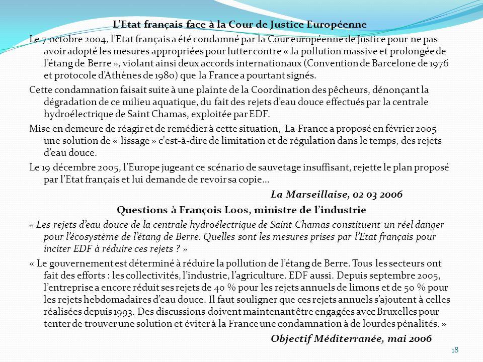 L'Etat français face à la Cour de Justice Européenne