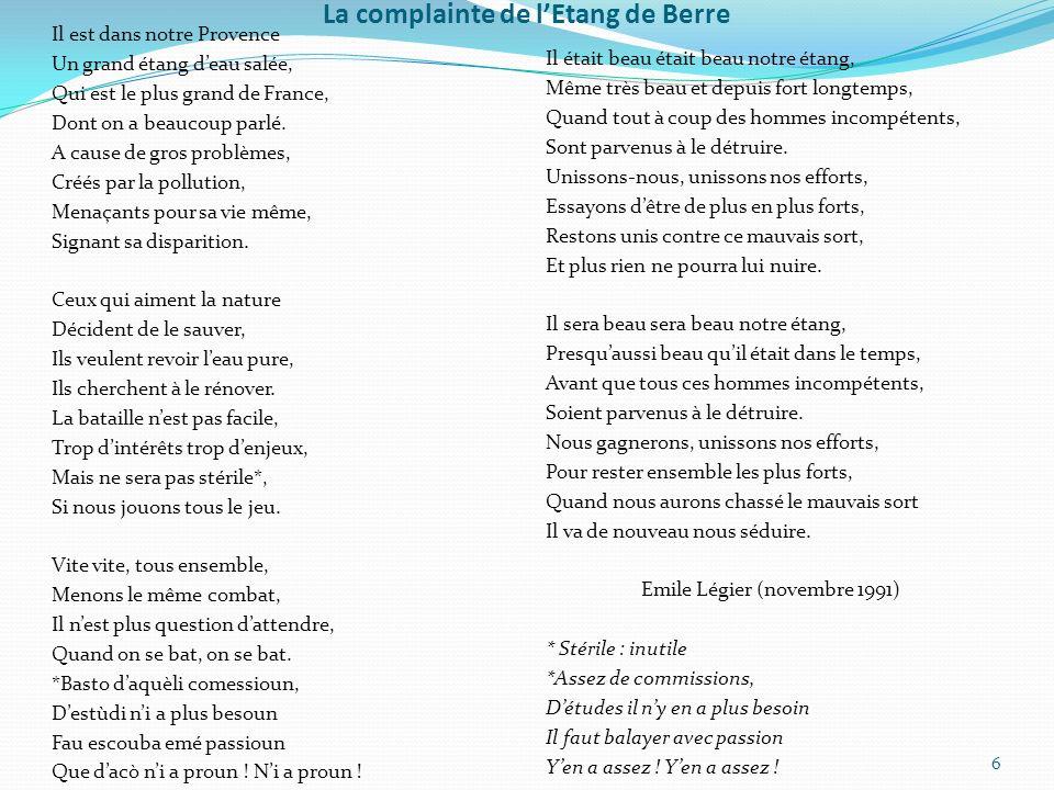 La complainte de l'Etang de Berre