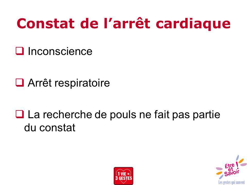 Constat de l'arrêt cardiaque