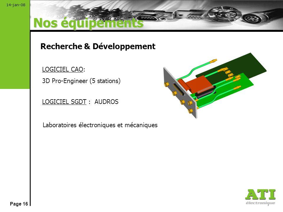 Nos équipements Recherche & Développement LOGICIEL CAO: