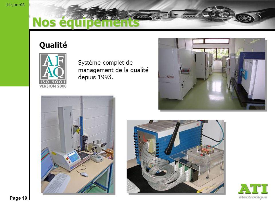 Nos équipements Qualité