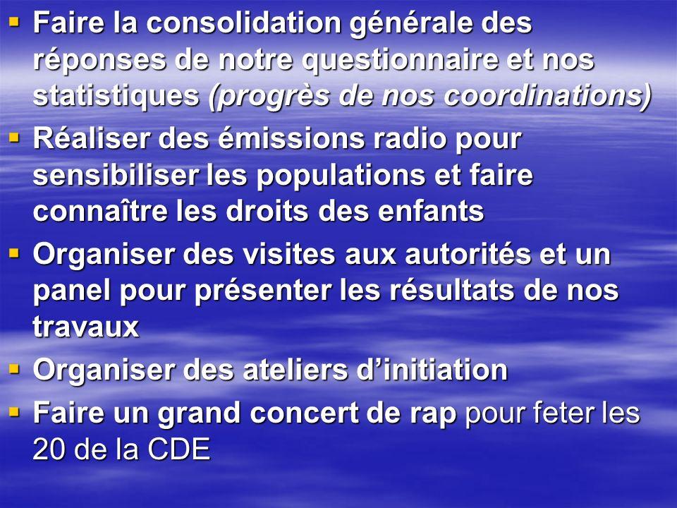 Faire la consolidation générale des réponses de notre questionnaire et nos statistiques (progrès de nos coordinations)