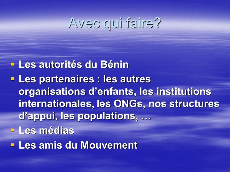Avec qui faire Les autorités du Bénin
