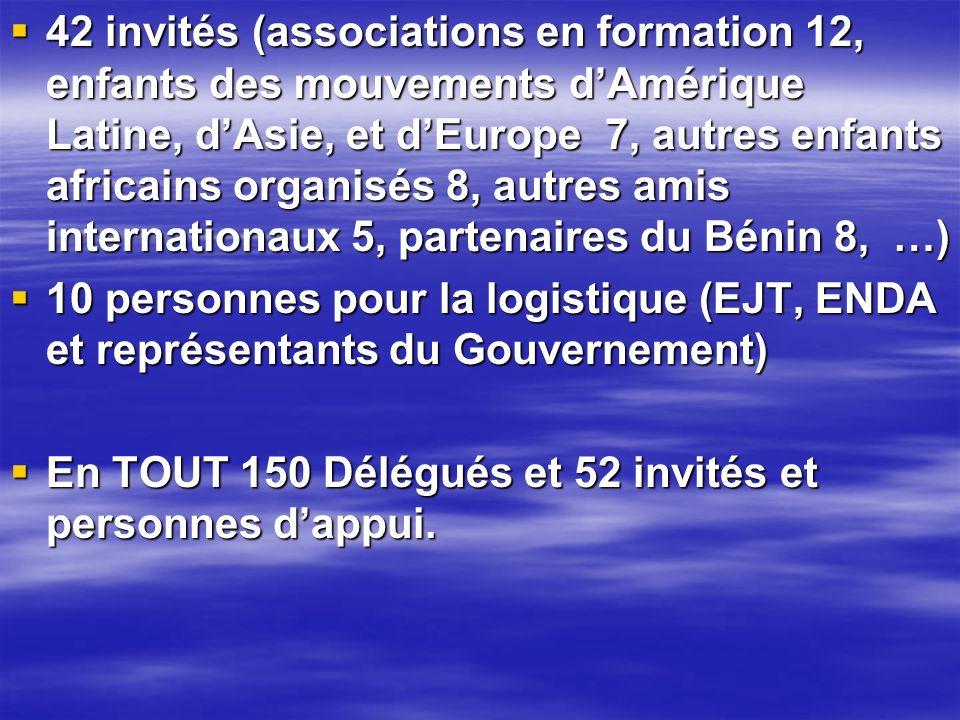 42 invités (associations en formation 12, enfants des mouvements d'Amérique Latine, d'Asie, et d'Europe 7, autres enfants africains organisés 8, autres amis internationaux 5, partenaires du Bénin 8, …)