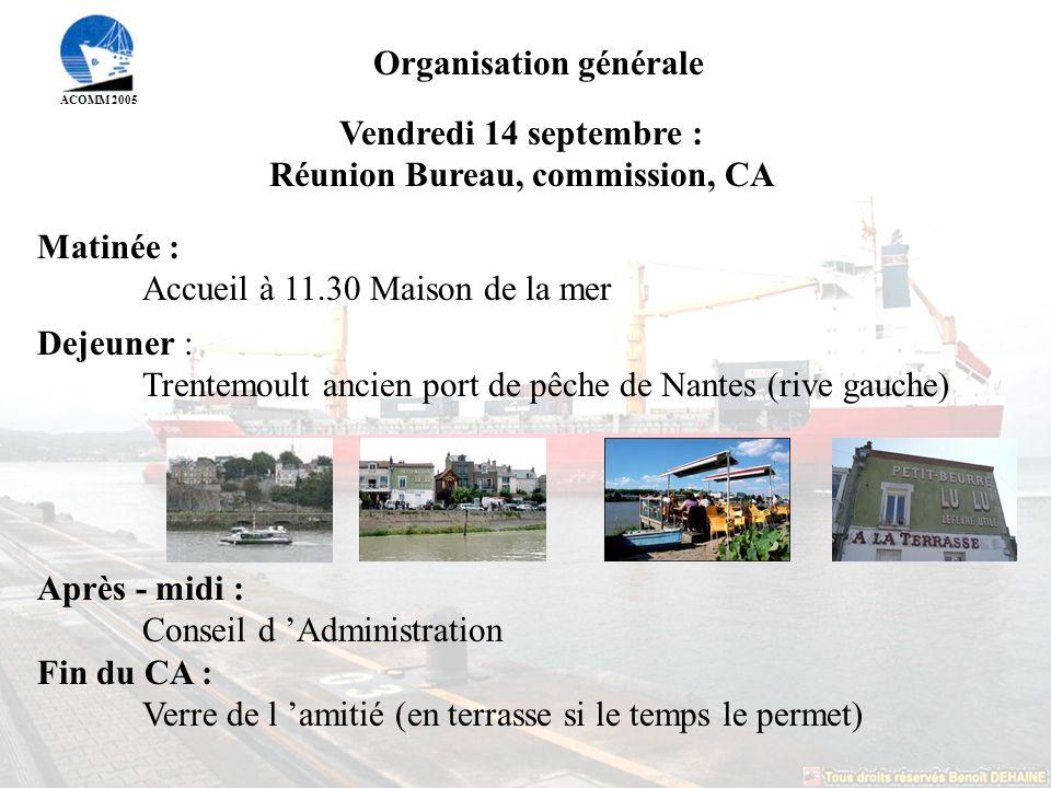 Organisation générale Réunion Bureau, commission, CA