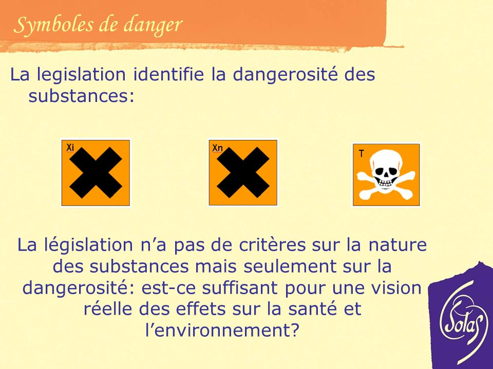 Symboles de danger La legislation identifie la dangerosité des substances: