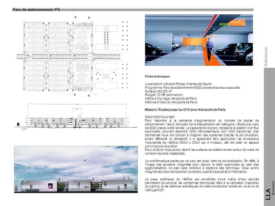 LLA 11 Parc de stationnement PS Références Fiche technique: