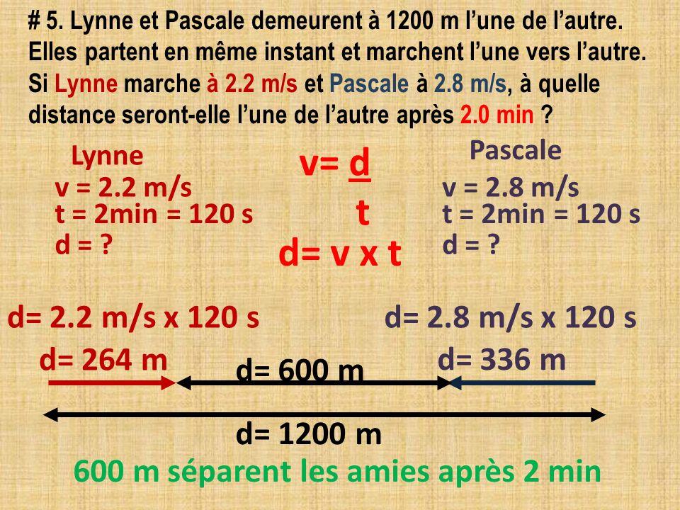 v= d t d= v x t d= 2.2 m/s x 120 s d= 2.8 m/s x 120 s d= 264 m