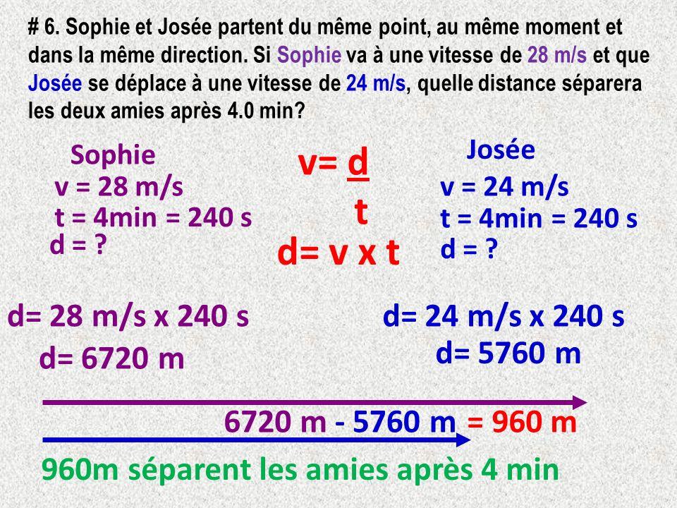 v= d t d= v x t d= 28 m/s x 240 s d= 24 m/s x 240 s d= 5760 m