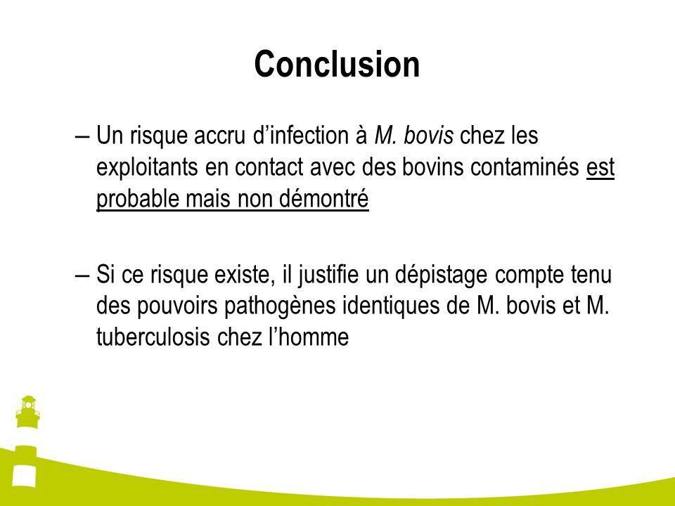 Conclusion Un risque accru d'infection à M. bovis chez les exploitants en contact avec des bovins contaminés est probable mais non démontré.