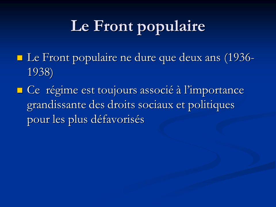 Le Front populaire Le Front populaire ne dure que deux ans (1936-1938)