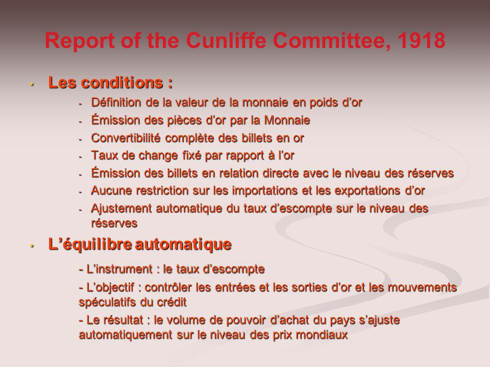 Report of the Cunliffe Committee, 1918