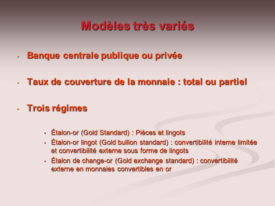 Modèles très variés Banque centrale publique ou privée