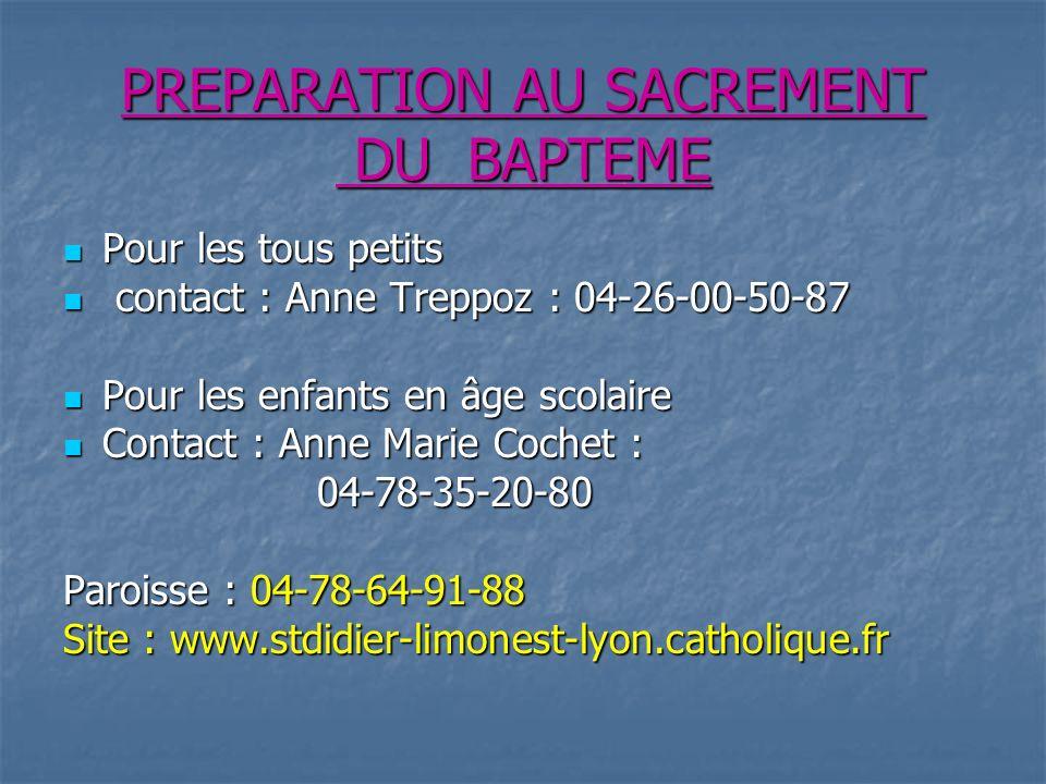 PREPARATION AU SACREMENT DU BAPTEME