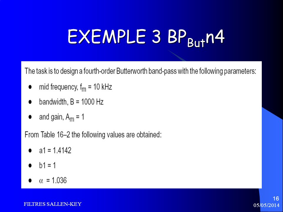 EXEMPLE 3 BPButn4 FILTRES SALLEN-KEY 30/03/2017