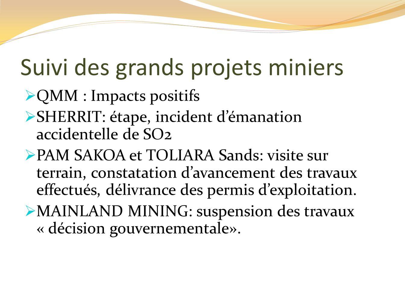 Suivi des grands projets miniers