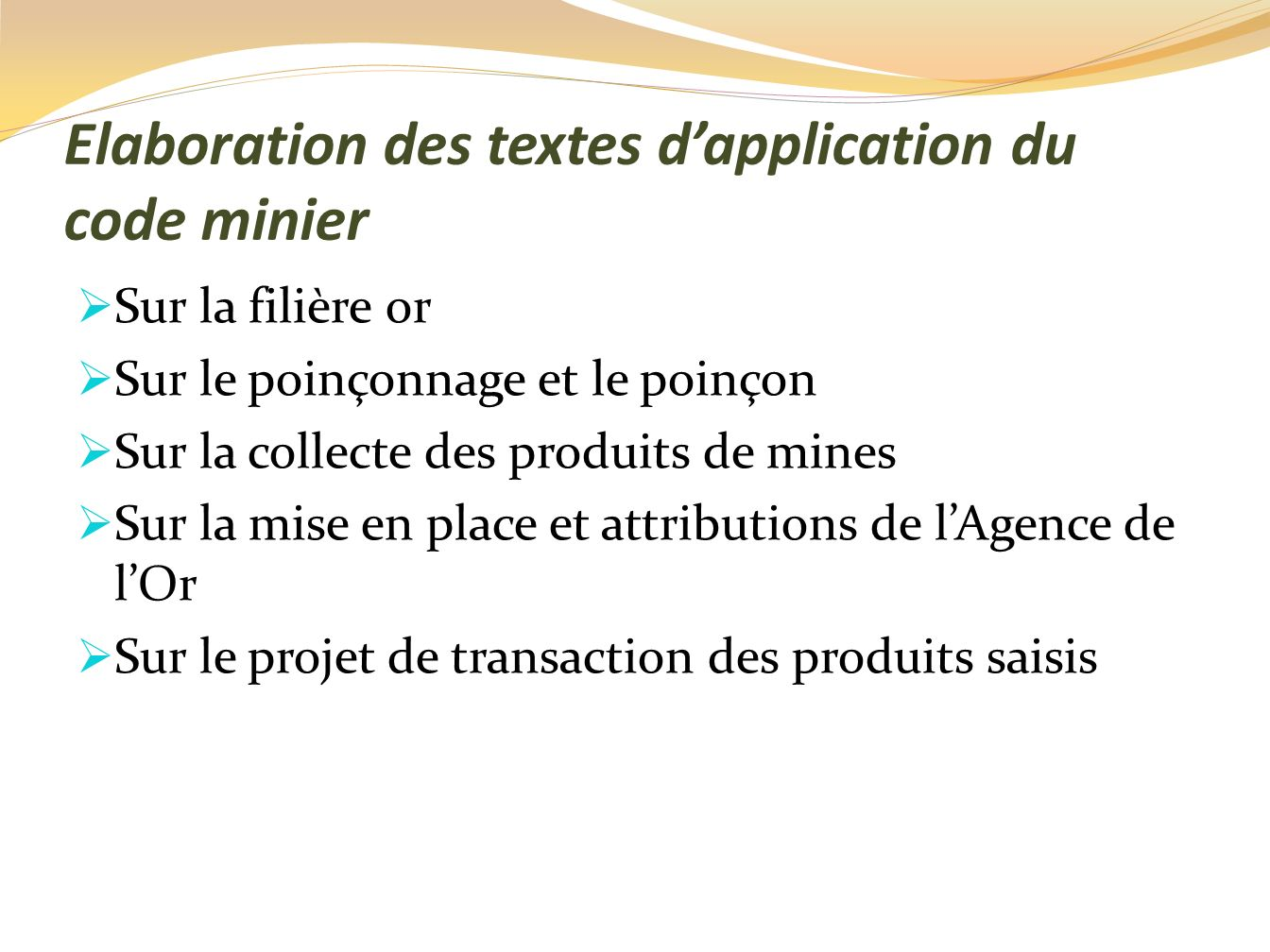 Elaboration des textes d'application du code minier