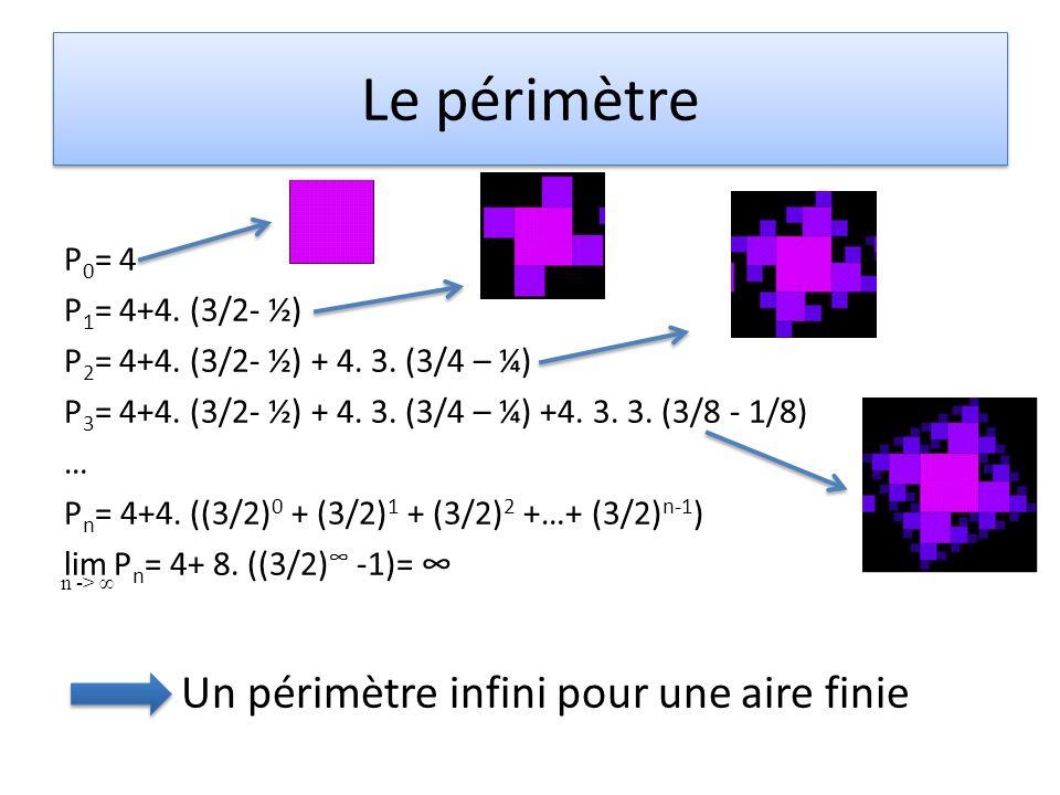 Le périmètre Un périmètre infini pour une aire finie P0= 4