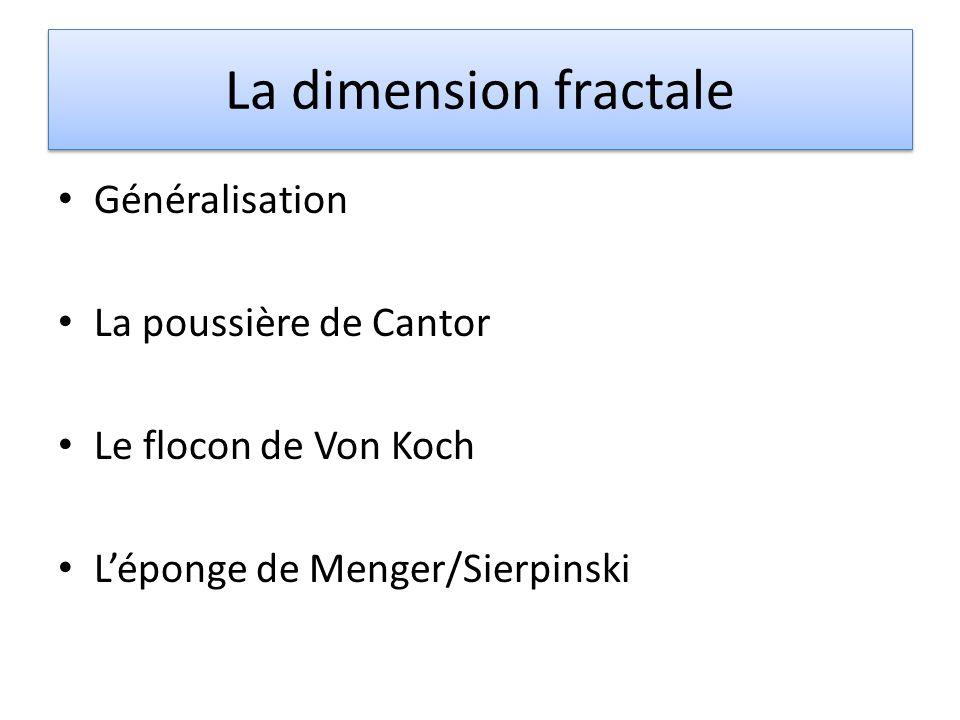 La dimension fractale Généralisation La poussière de Cantor