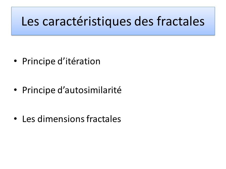 Les caractéristiques des fractales