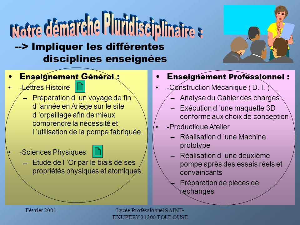 --> Impliquer les différentes disciplines enseignées