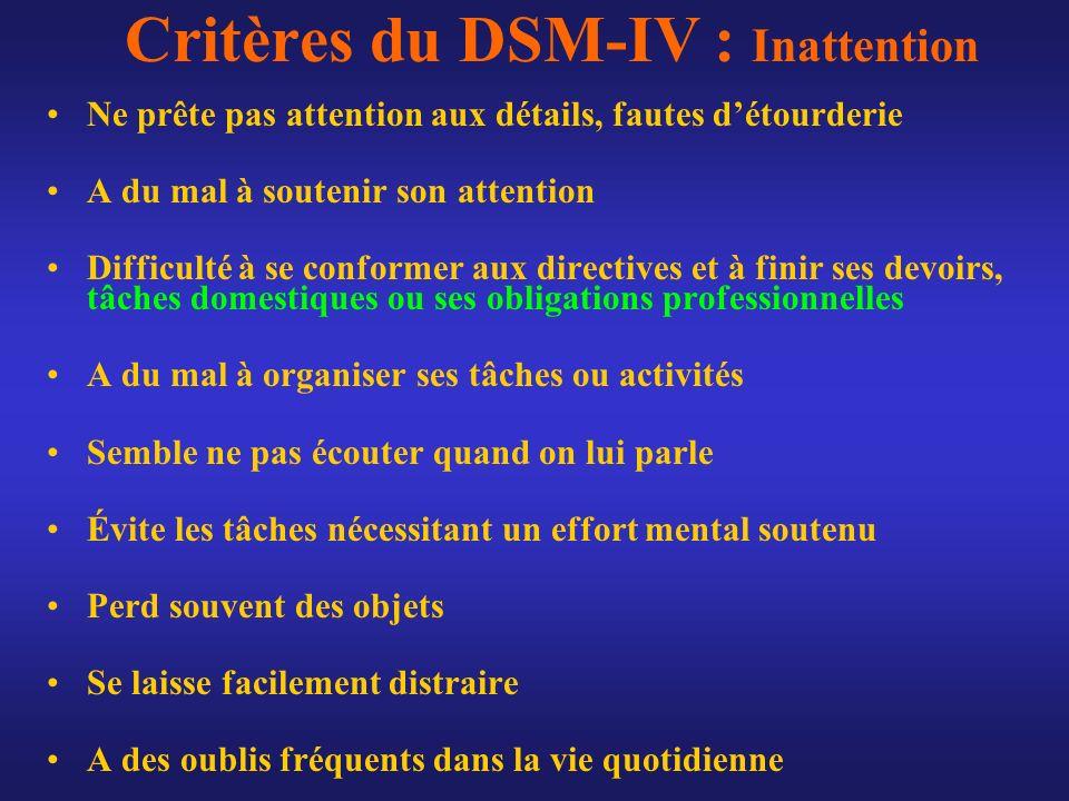 Critères du DSM-IV : Inattention