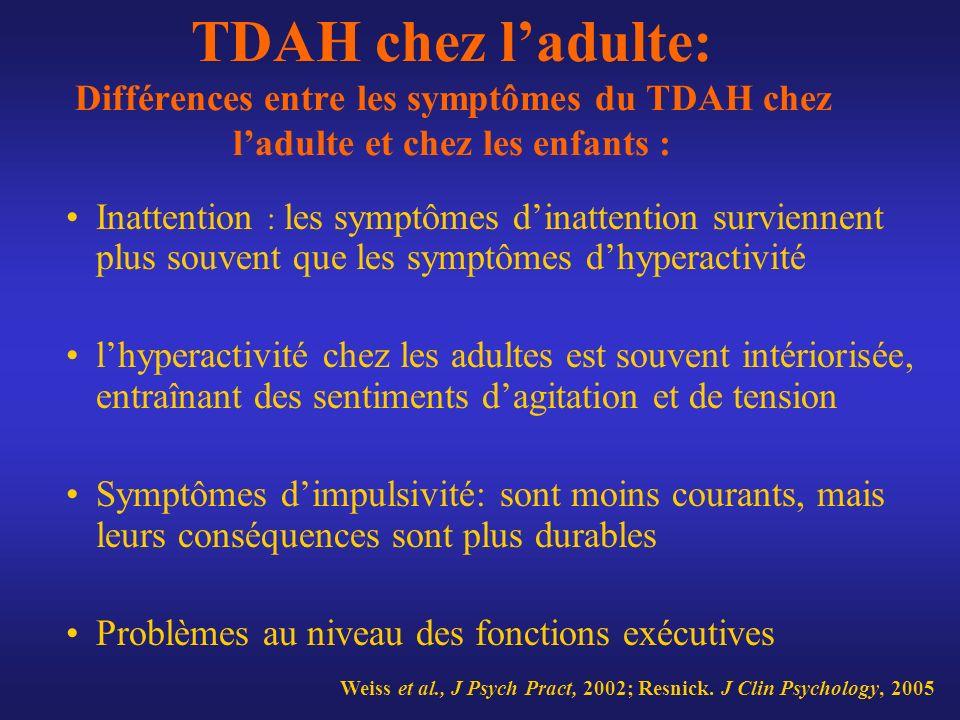 TDAH chez l'adulte: Différences entre les symptômes du TDAH chez l'adulte et chez les enfants :