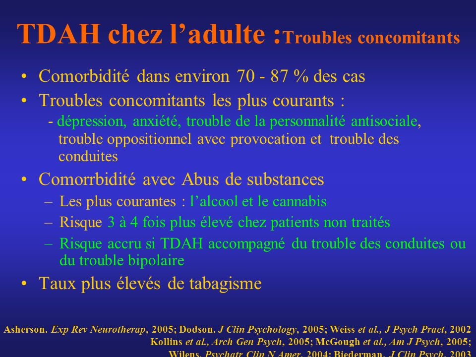 TDAH chez l'adulte :Troubles concomitants