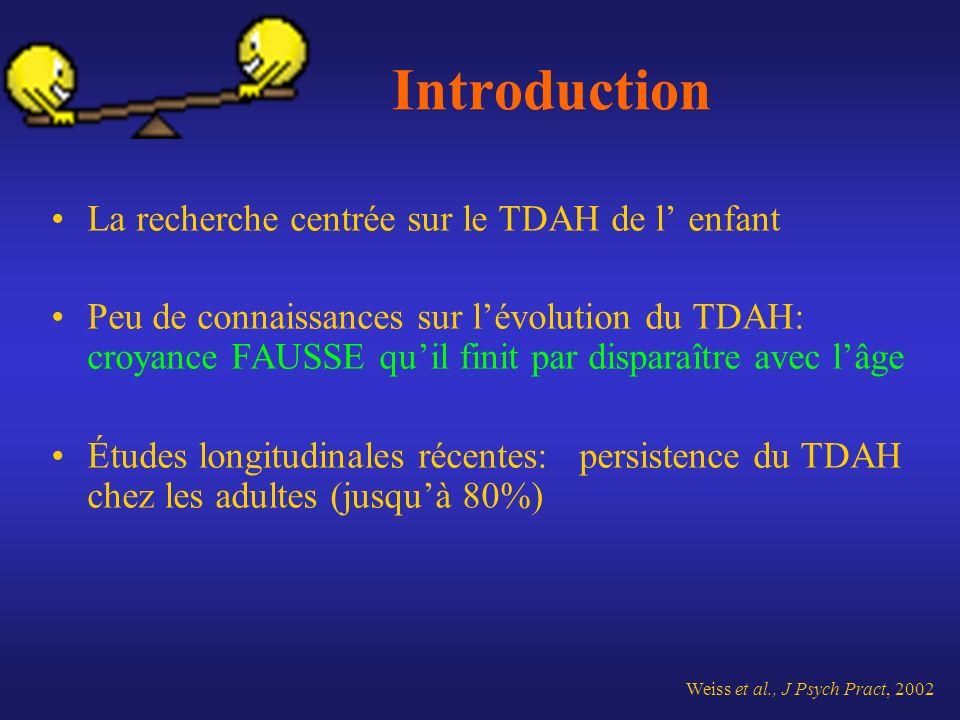 Introduction La recherche centrée sur le TDAH de l' enfant