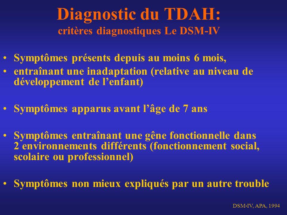 Diagnostic du TDAH: critères diagnostiques Le DSM-IV