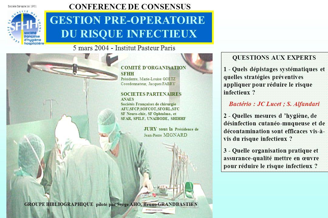 GESTION PRE-OPERATOIRE Bactério : JC Lucet ; S. Alfandari