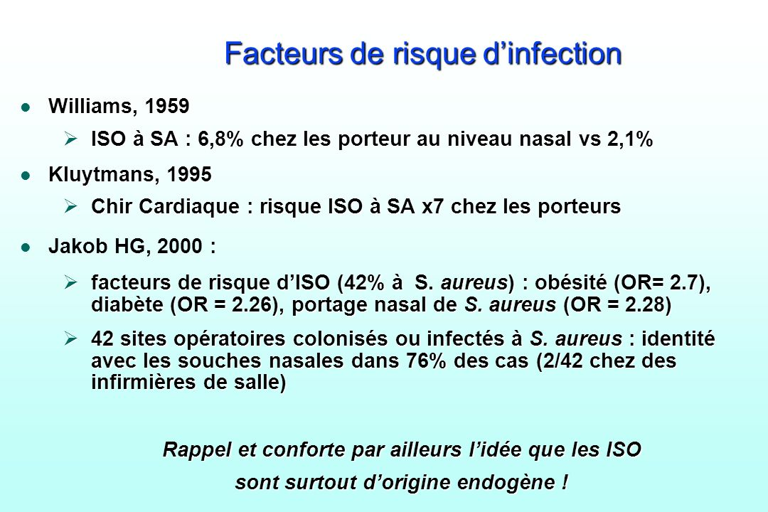 Facteurs de risque d'infection