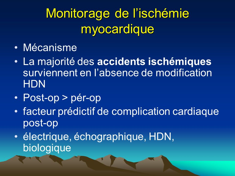 Monitorage de l'ischémie myocardique