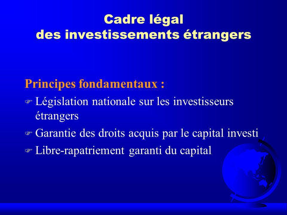 Cadre légal des investissements étrangers