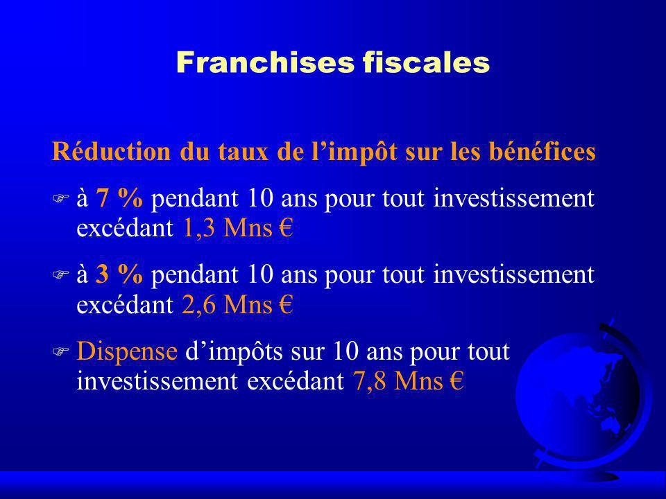 Franchises fiscales Réduction du taux de l'impôt sur les bénéfices