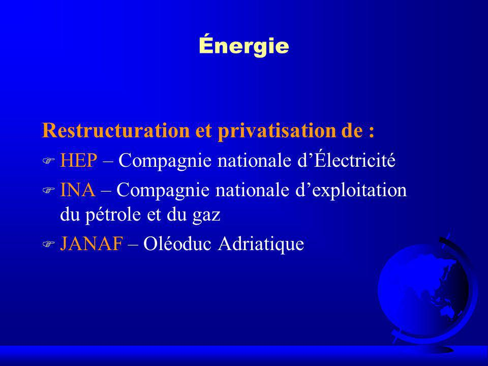 Restructuration et privatisation de :
