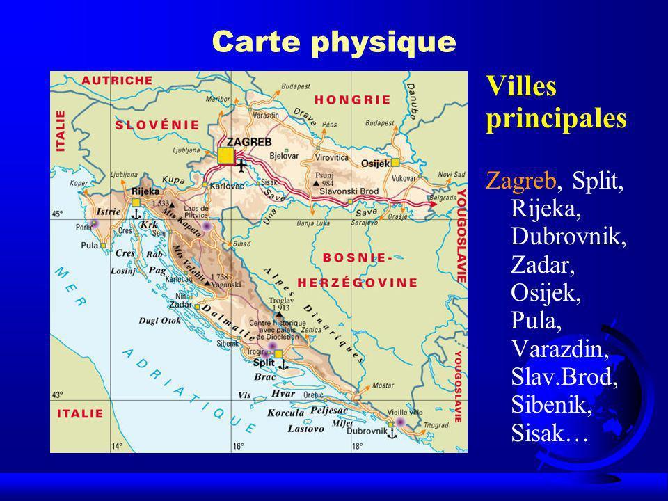 Carte physique Villes principales
