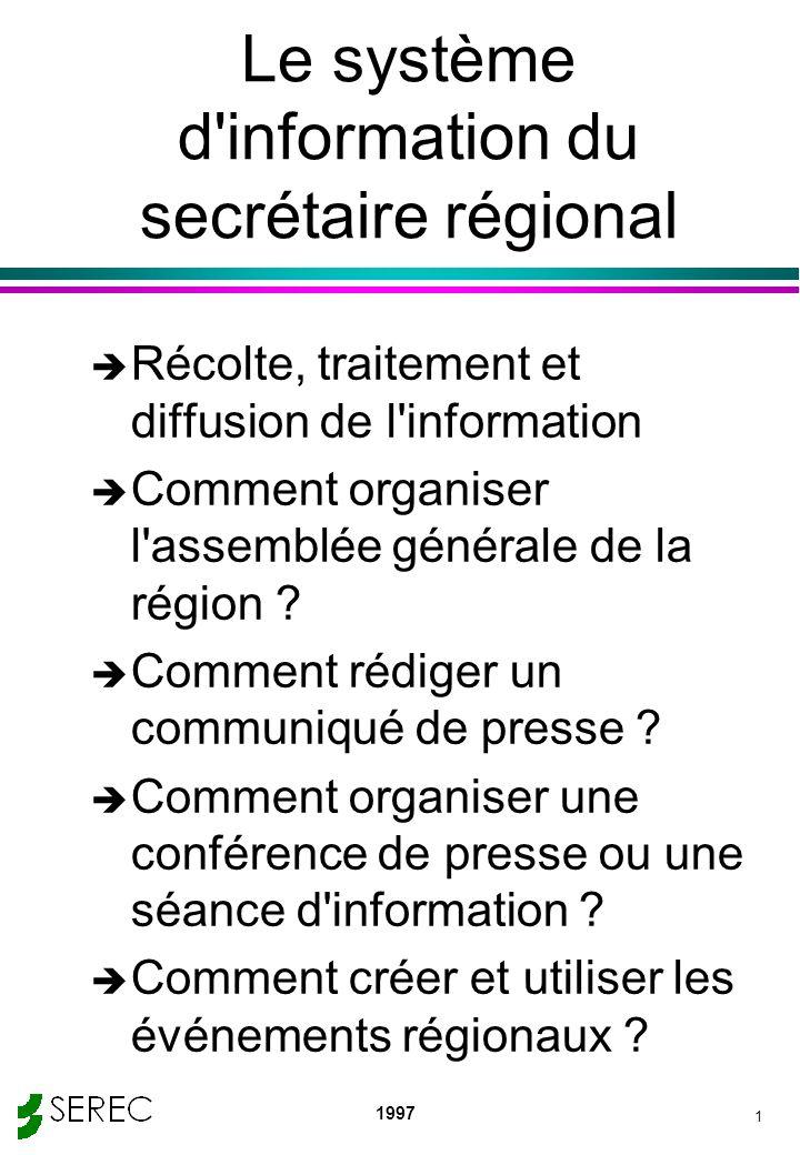 Le système d information du secrétaire régional
