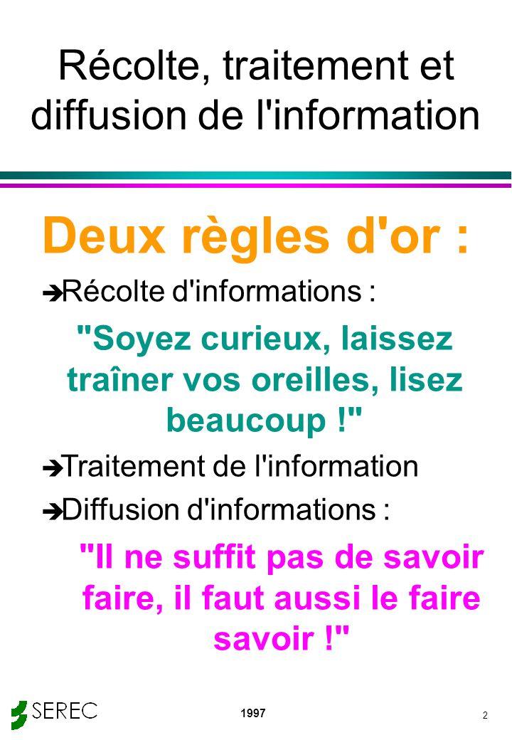 Récolte, traitement et diffusion de l information