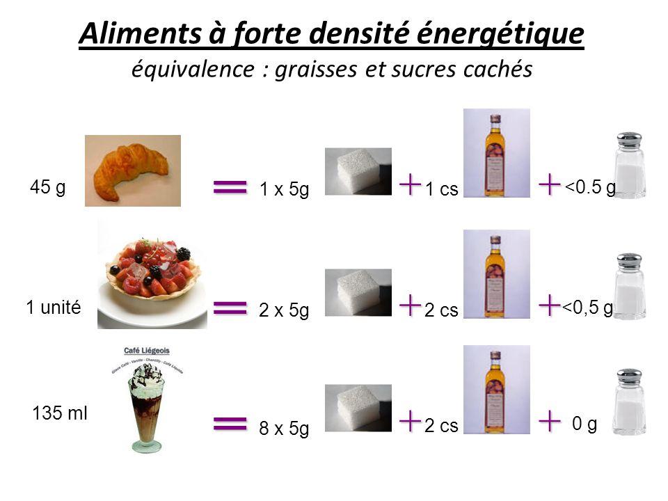 Aliments à forte densité énergétique équivalence : graisses et sucres cachés