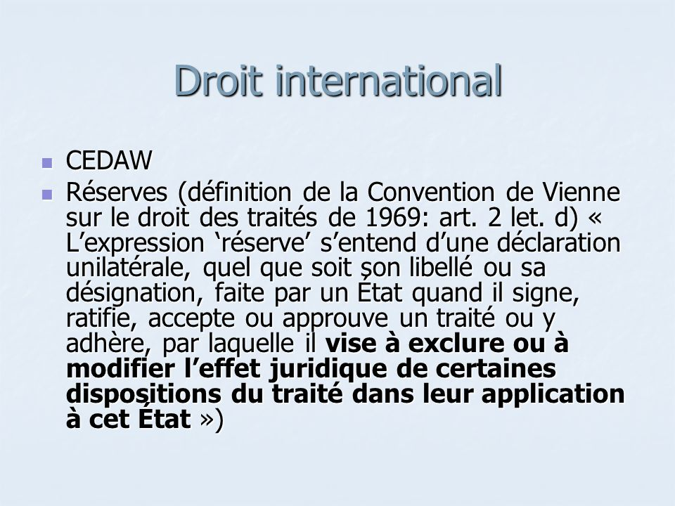 Droit international CEDAW