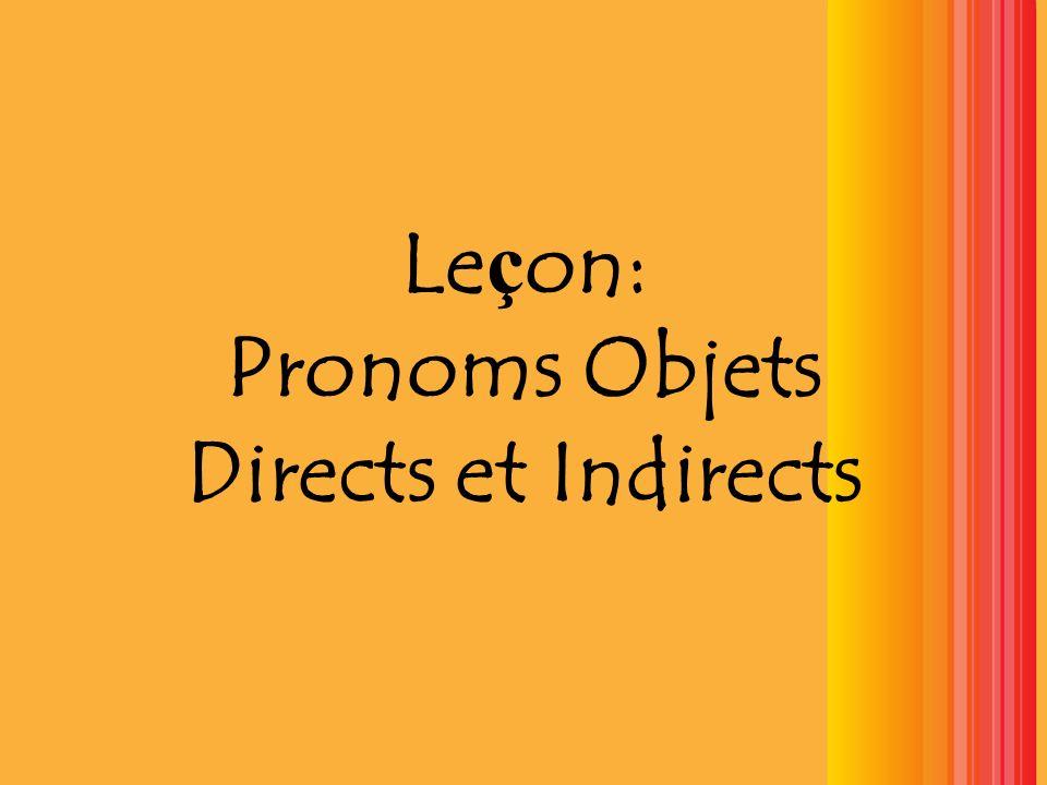 Leçon: Pronoms Objets Directs et Indirects
