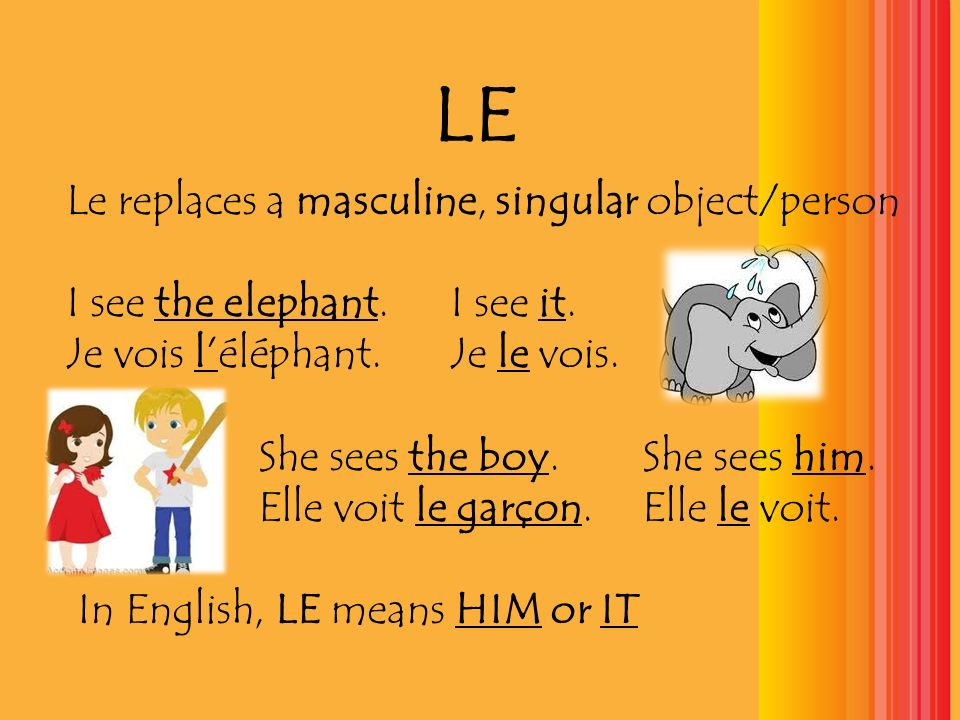 LE Le replaces a masculine, singular object/person