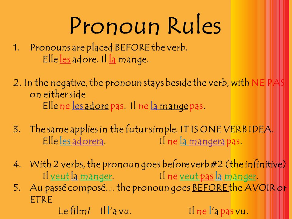 Pronoun Rules Pronouns are placed BEFORE the verb.