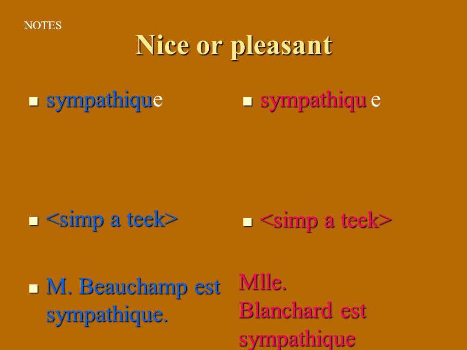 Nice or pleasant sympathiqu e sympathiqu e <simp a teek>