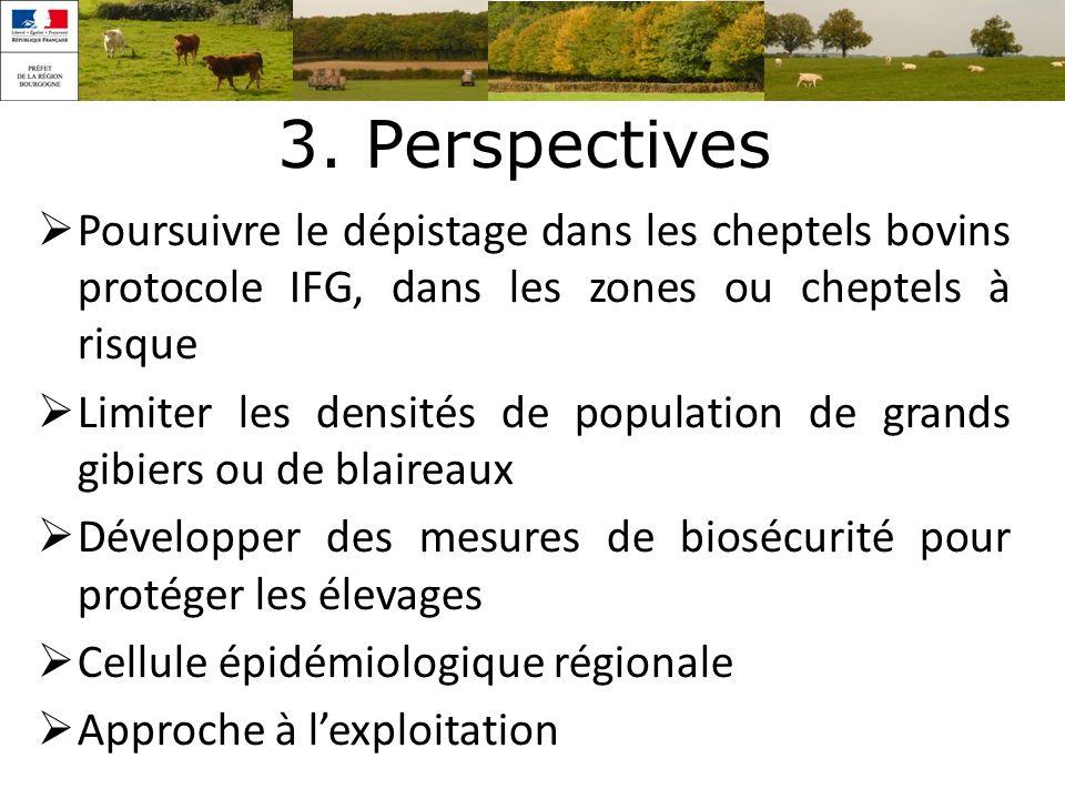 3. Perspectives Poursuivre le dépistage dans les cheptels bovins protocole IFG, dans les zones ou cheptels à risque.
