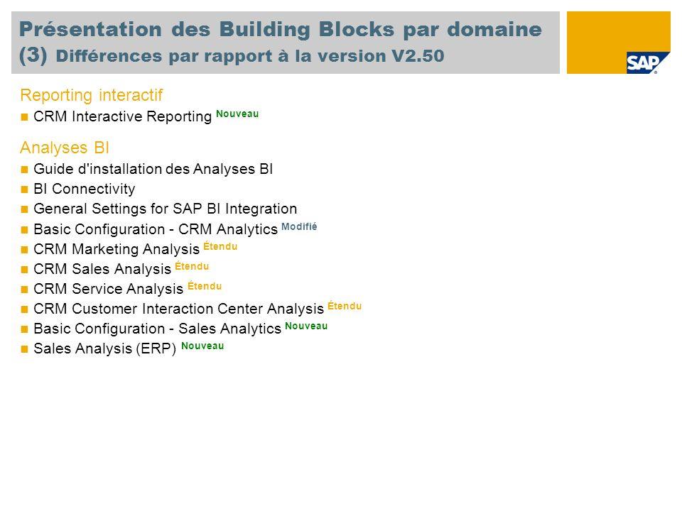 Présentation des Building Blocks par domaine (3) Différences par rapport à la version V2.50